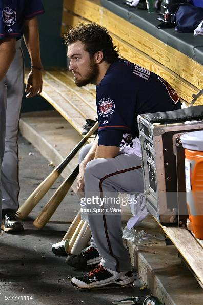 Minnesota Twins' starting pitcher Phil Hughes in the dugout after being relieved in the eighth inning during a major league baseball game between the...