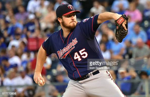 Minnesota Twins' starting pitcher Phil Hughes pitches during a major league baseball game between the Minnesota Twins and the Kansas City Royals at...