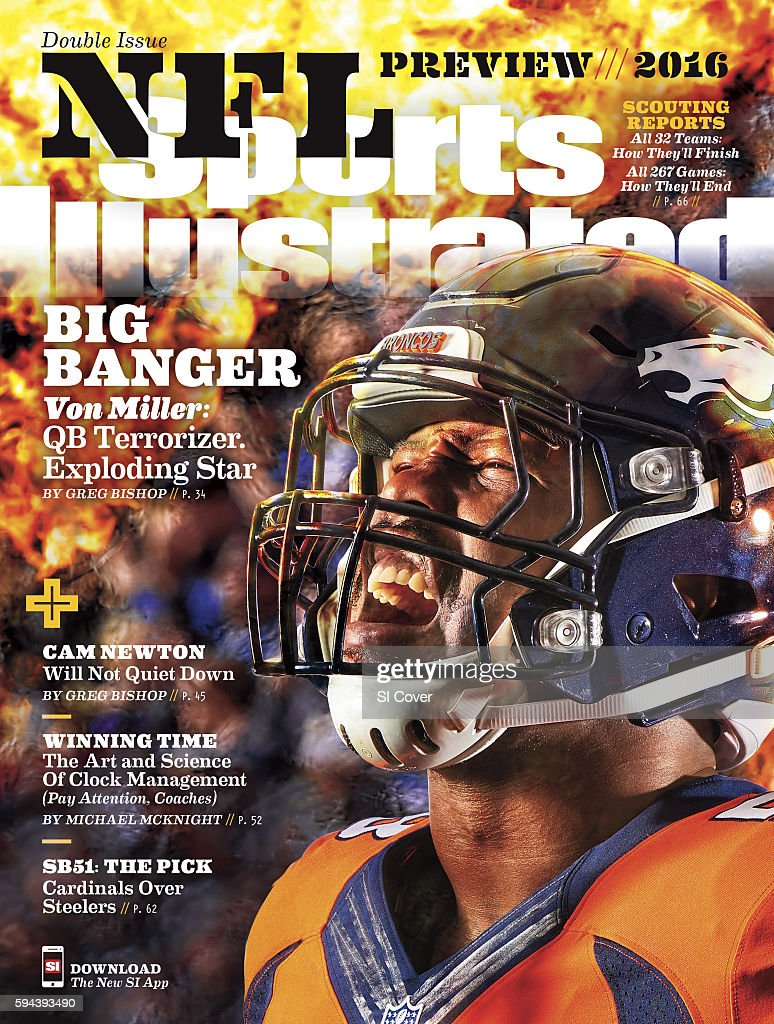NFL Season Preview Closeup portrait of Denver Broncos linebacker Von Miller posing during photo shoot at Paul D Bowlen Memorial Broncos Centre...