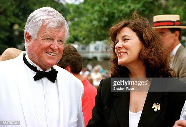 August 3 1997 Ted Kennedy gets a warm smile from his wife Vicki during the Pops by Sea Concert in Hyannis Massachusetts