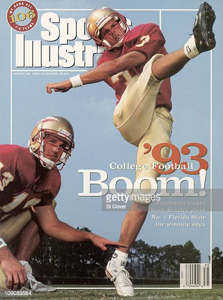 College Football NCAA Season Preview Portrait of Florida State kicker Scott Bentley with QB Danny Kanell during photo shoot at FSU Practice...