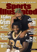 Football Season Preview Closeup portrait of Hall of Famer Jim Brown and New Orleans Saints Ricky Williams during photo shoot Los Angeles CA 7/15/1999...