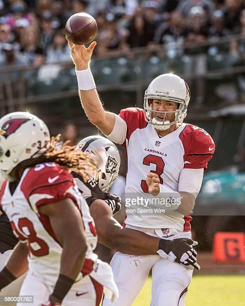 Oakland Raiders defensive tackle Dan Williams rushes Arizona Cardinals quarterback Carson Palmer on Sunday August 30 2015 at Oco Coliseum in Oakland...