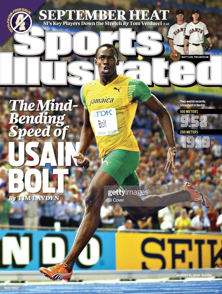 Track Field 12th IAAF World Championships Jamaica Usain Bolt victorious after winning Men's 200M Final gold medal with world record time of 1919 at...