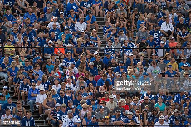 Indianapolis Colts fans fill the stands during the Indianapolis Colts Training Camp practice at Anderson University in Anderson IN