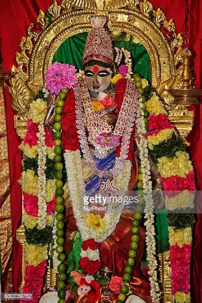 August 6 2016 Goddess Sri Meenakshi Amman in the innersanctum of the main prayer hall at a Tamil Hindu temple in Ontario Canada