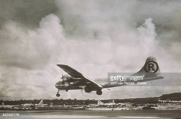Enola Gay landing just after the mission to Hiroshima