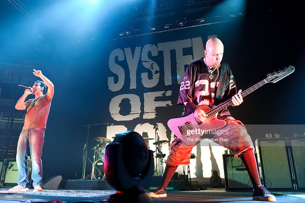 WASHINGTON, DC - August 7th, 2012 - Serj Tankian and Shavo Odadjian of System of a Down perform at the Verizon Center in Washington, D.C. The band returned to the road last year after a hiatus that spanned 2006 to 2010.