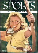 August 8 1955 Sports Illustrated Cover Archery Closeup portrait of Ann Marston Detroit MI 6/14/1955