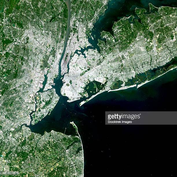 August 8, 2002 - Satellite view of New York City, New York.