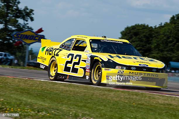 NASCAR Nationwide Series driver Brad Keselowski driver of the Hertz Ford exits the bus stop during the NASCAR Nationwide Series Zippo 200 at Watkins...