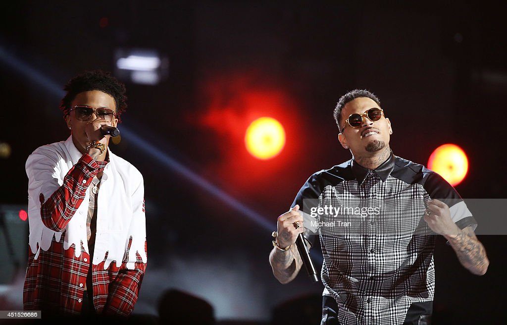 August Alsina (L) and Chris Brown perform onstage during the 'BET AWARDS' 14 held at Nokia Theater L.A. LIVE on June 29, 2014 in Los Angeles, California.