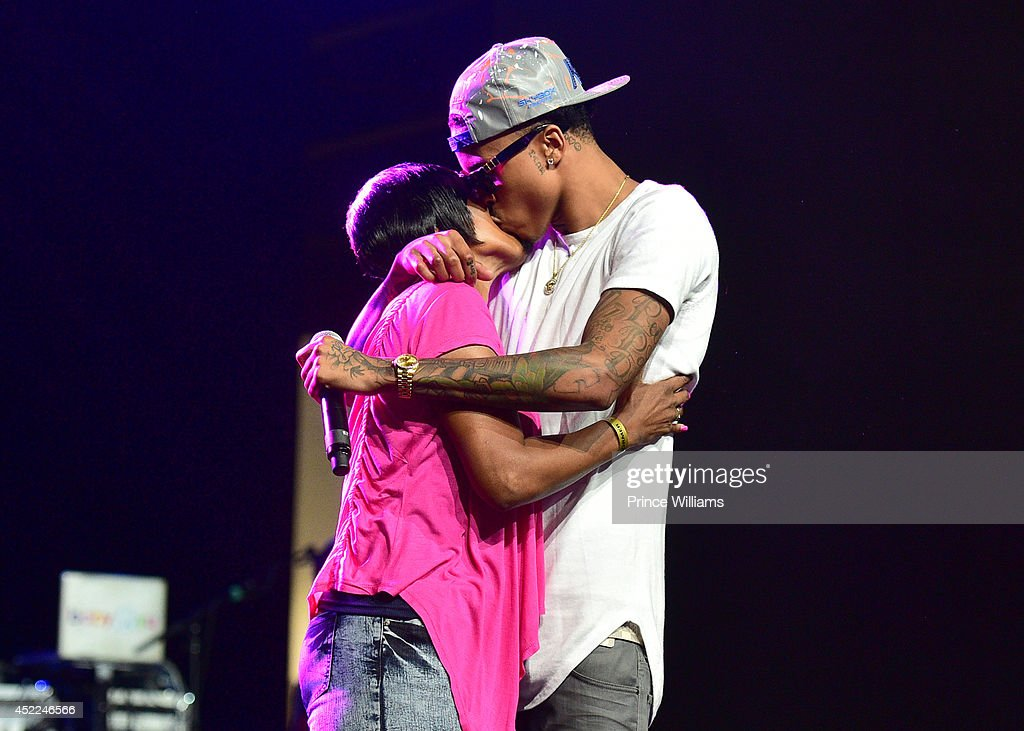 August Alsina and his mother attend the 2014 V-103/WAOK Car & Bike Show >> at Georgia World Congress Center on July 12, 2014 in Atlanta, Georgia.