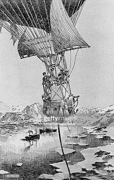 August Andree Swedish engineer and his team setting out on the fatal balloon expedition to the North Pole 11 July 1897 Andree's body was found in...