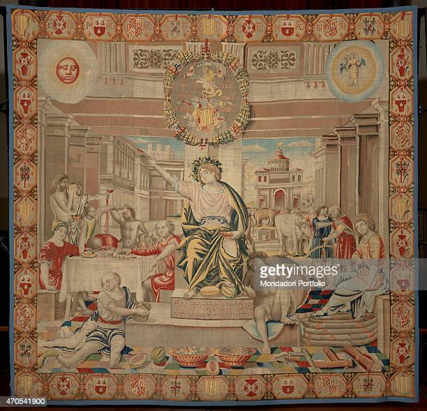 'August by Benedetto da Milano upon drawing by Bramantino c 15031508 16th Century tapestry Italy Lombardy Milan Sforza Castle Whole artwork view...