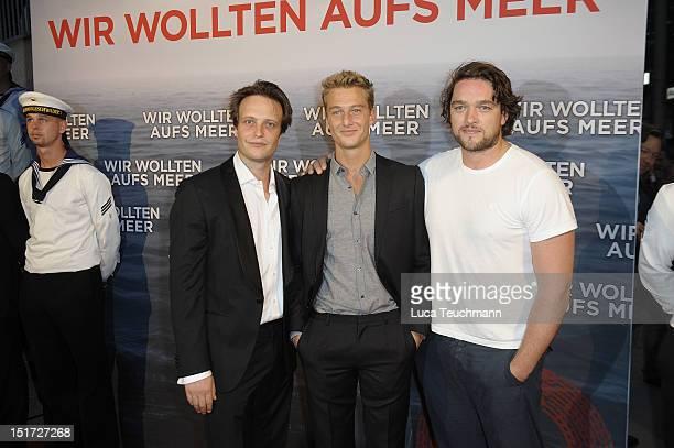 August Diehl Alexander Fehling and Ronald Zehrfeld attend the 'Wir Wollten Aufs Meer' Germany Premiere at Filmtheater am Friedrichshain on September...