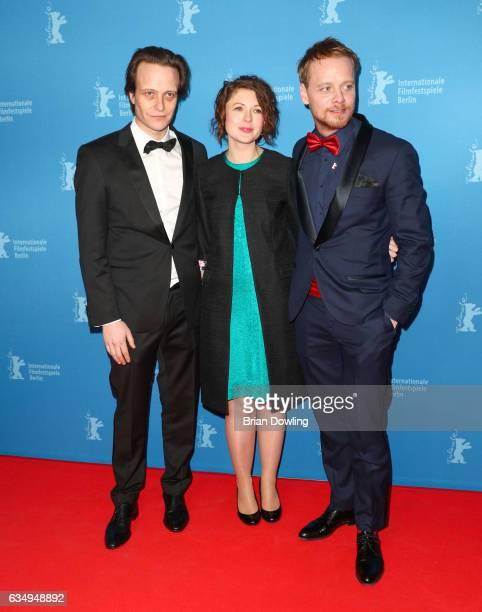 August Diehl Hannah Steele and Stefan Konarske attend the 'The Young Karl Marx' premiere during the 67th Berlinale International Film Festival Berlin...