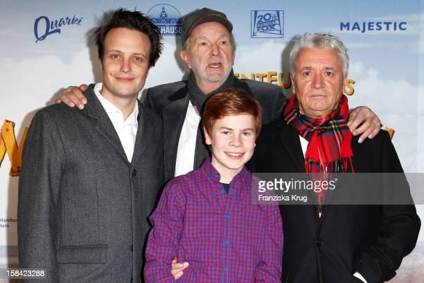 August Diehl Michael Gwisdek Leon Seidel and Henry Huebchen attend 'Die Abenteuer des Huck Finn' Germany Premiere on December 16 2012 in Berlin...