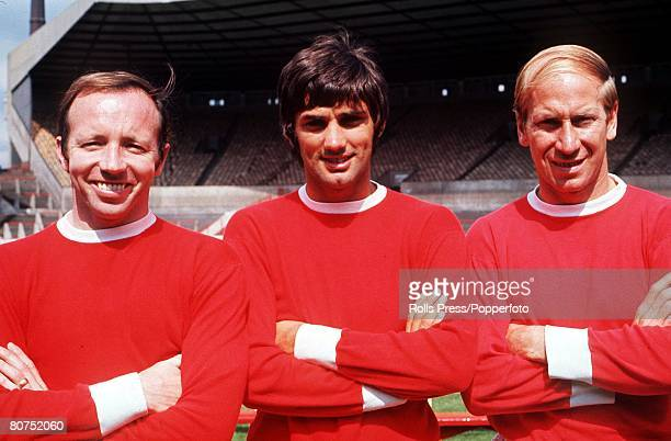 August Manchester United's Nobby Stiles George Best and Bobby Charlton key figures in United's European Cup victory over Benefica the previous May...