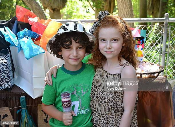 August Maturo and Francesca Capaldi attend August Maturo's 7th birthday celebration at Los Angeles Zoo on August 24 2014 in Los Angeles California