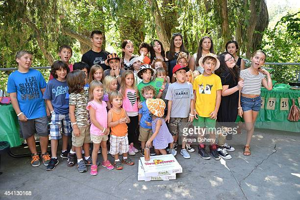 August Maturo and guests attend August Maturo's 7th birthday celebration at Los Angeles Zoo on August 24 2014 in Los Angeles California
