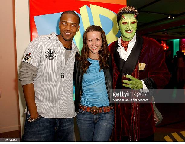 J August Richards Amy Acker and Andy Hallett in makeup as 'Lorne'