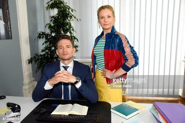August Wittgenstein and Birte Hanusrichter during 'Jenny Echt gerecht' RTL TV series Set Visit In Berlin on July 13 2017 in Berlin Germany