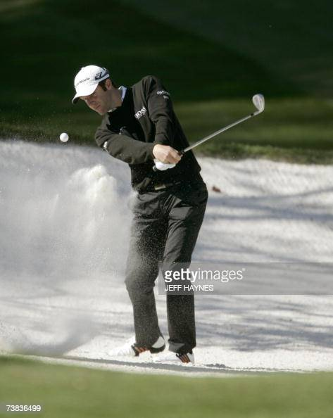 Bradley Dredge of Wales hits from a bunker on the 10th hole 07 April 2007 during the third round at the 71st Masters Golf Tournament in Augusta...