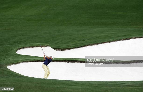 Sergio Garcia of Spain hits out of the sand trap on the eighth hole at Augusta National Golf Club 03 April 2007 during the second practice round for...