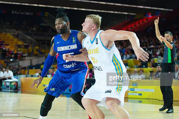 Jack Martinez and Kyryl Natyazhko in the match of the group stage of world basketball Espana 2014 between Ukraine and the Dominican Republic played...