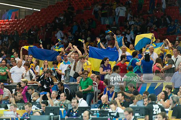 Ukraine supporters in the match of the group stage of world basketball Espana 2014 between Ukraine and the Dominican Republic played in the stadium...