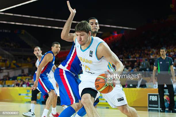 VYACHESLAV KRAVTSOV in the match of the group stage of world basketball Espana 2014 between Ukraine and the Dominican Republic played in the stadium...