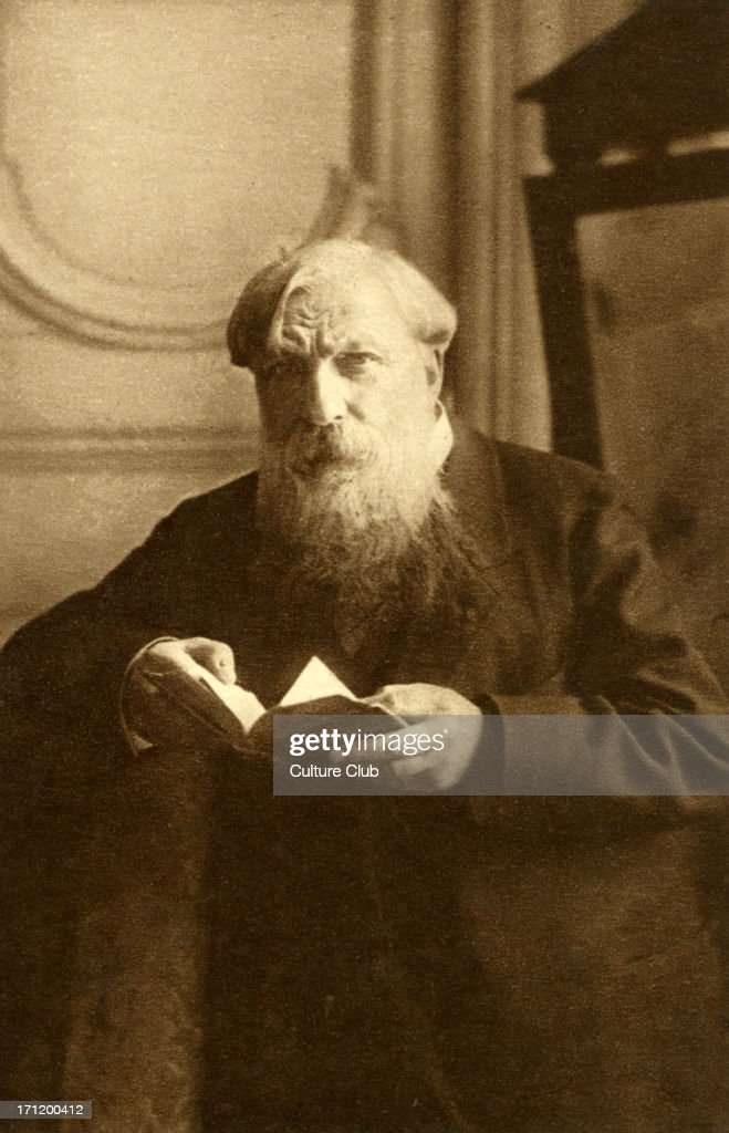 Auguste Rodin portrait holding book French sculptor 18401917 postcard