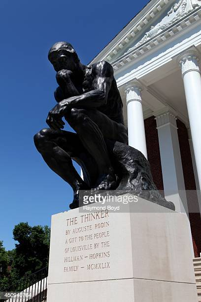 Auguste Rodin's 'The Thinker' statue sits outside Grawemeyer Hall at the University of Louisville on May 31 2014 in Louisville Kentucky