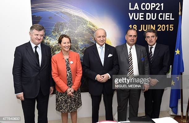 CEO ADP Augustin de Romanet French minister for Ecology Sustainable Development and Energy Segolene Royal and French Foreign Affairs minister Laurent...