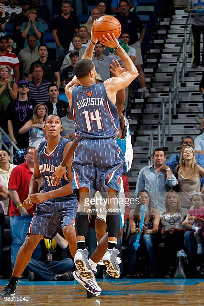 J Augustin of the Charlotte Bobcats makes the gamewinning shot against the New Orleans Hornets on April 7 2010 at the New Orleans Arena in New...