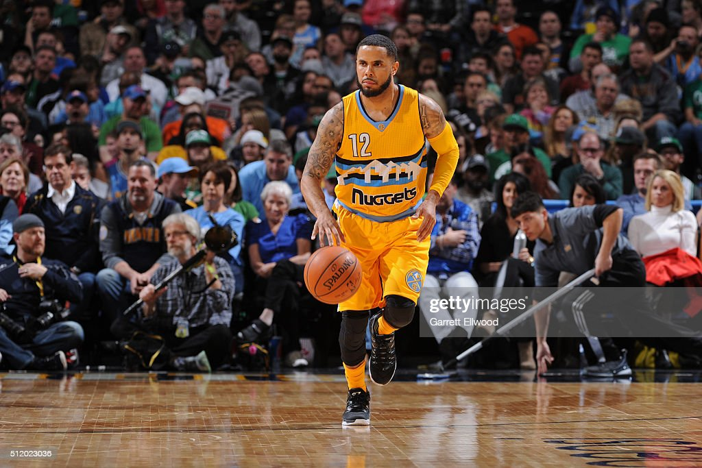 J Augustin of the Denver Nuggets dribbles the ball against the Boston Celtics on February 21 2016 at the Pepsi Center in Denver Colorado NOTE TO USER...