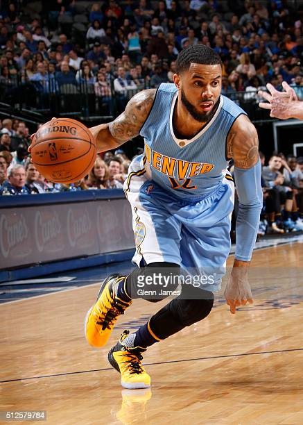 J Augustin of the Denver Nuggets drives against the Dallas Mavericks on February 26 2016 at the American Airlines Center in Dallas Texas NOTE TO USER...