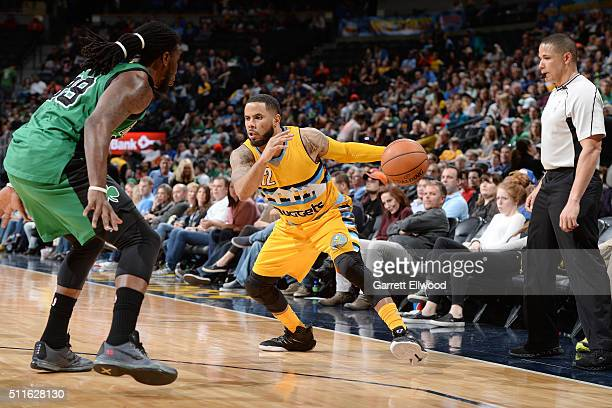 J Augustin of the Denver Nuggets handles the ball during the game against the Boston Celtics on February 21 2016 at the Pepsi Center in Denver...