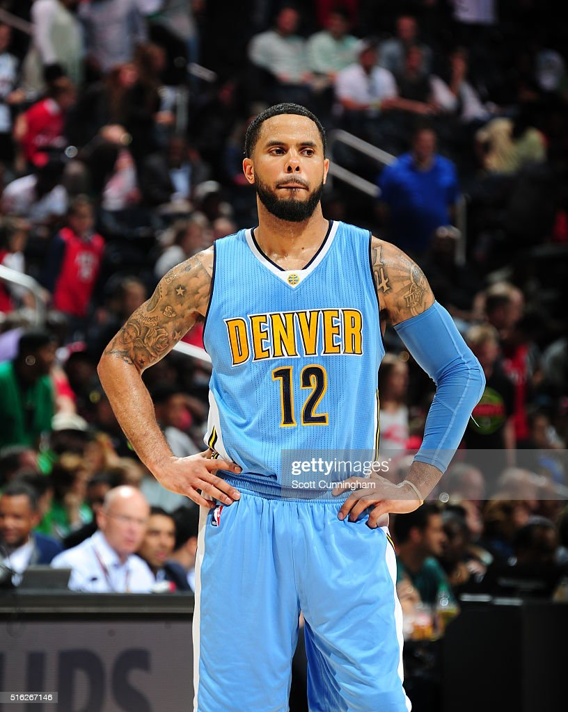 J Augustin of the Denver Nuggets is seen during the game against the Atlanta Hawkson March 17 2016 at Philips Arena in Atlanta Georgia NOTE TO USER...