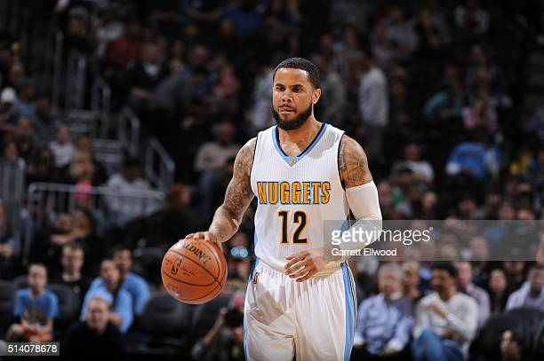 J Augustin of the Denver Nuggets shoots a free throw against the Dallas Mavericks on March 6 2016 at the Pepsi Center in Denver Colorado NOTE TO USER...