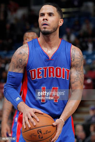 J Augustin of the Detroit Pistons attempts a free throw shot against the Sacramento Kings on December 13 2014 at Sleep Train Arena in Sacramento...