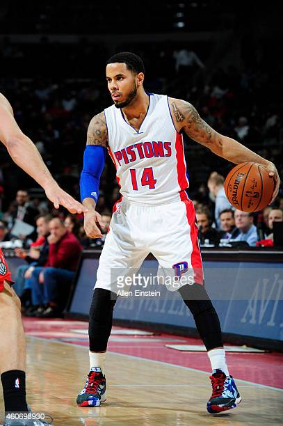 J Augustin of the Detroit Pistons defends the ball against the Toronto Raptors during the game on December 19 2014 at Palace of Auburn Hills in...