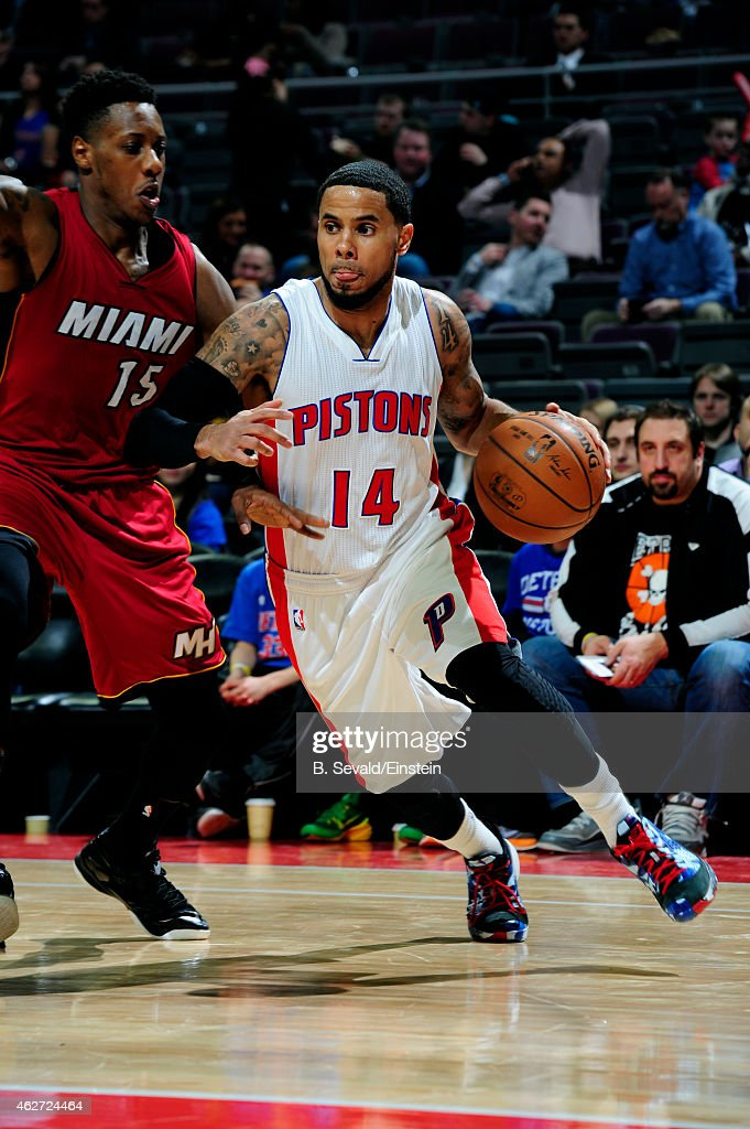 J Augustin of the Detroit Pistons drives against the Miami Heat on February 3 2015 at The Palace of Auburn Hills in Auburn Hills Michigan NOTE TO...