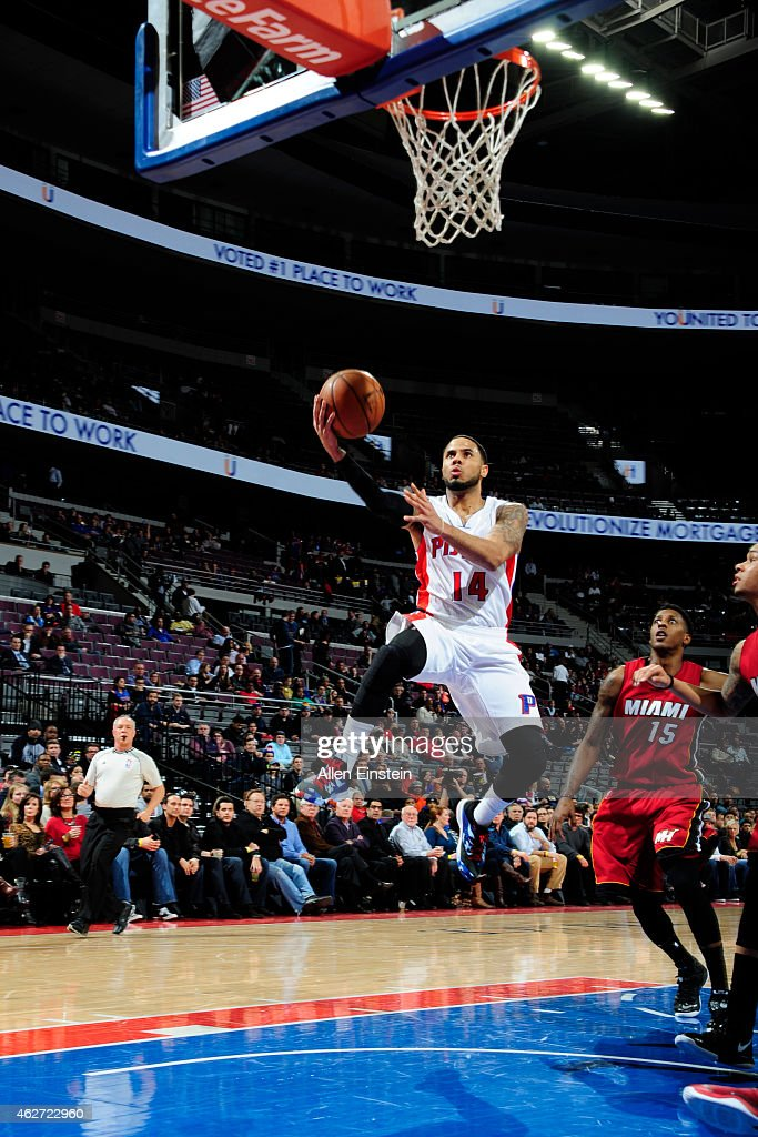 J Augustin of the Detroit Pistons goes for the layup against the Miami Heatduring the game on February 3 2015 at Palace of Auburn Hills in Detroit...