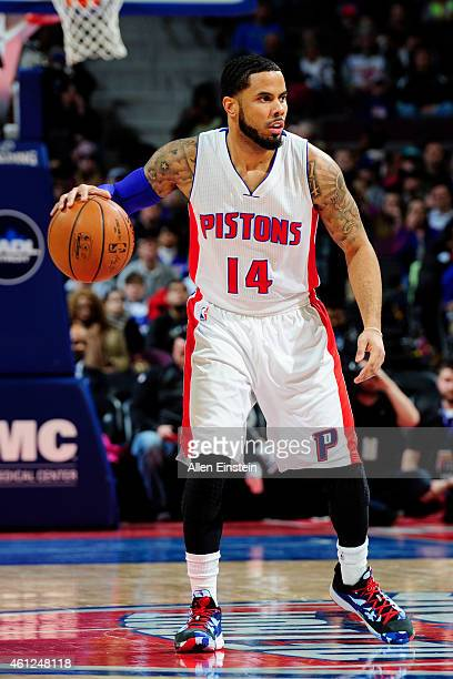 J Augustin of the Detroit Pistons handles the ball against the Atlanta Hawks on January 9 2015 at The Palace of Auburn Hills in Auburn Hills Michigan...