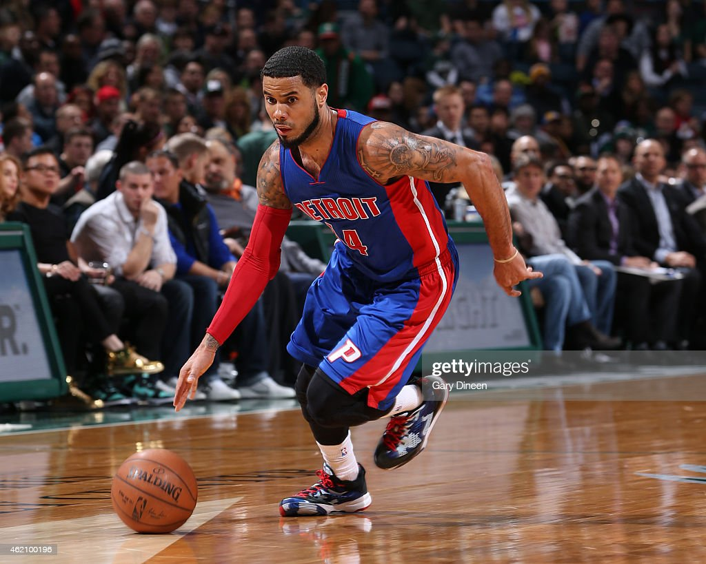J Augustin of the Detroit Pistons handles the ball against the Milwaukee Bucks on January 24 2015 at BMO Harris Bradley Center in Milwaukee Wisconsin...