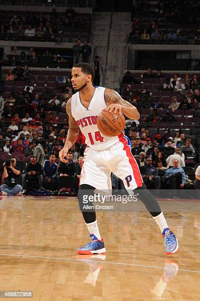 J Augustin of the Detroit Pistons handles the ball against the Chicago Bulls during the game on October 7 2014 at The Palace of Auburn Hills in...
