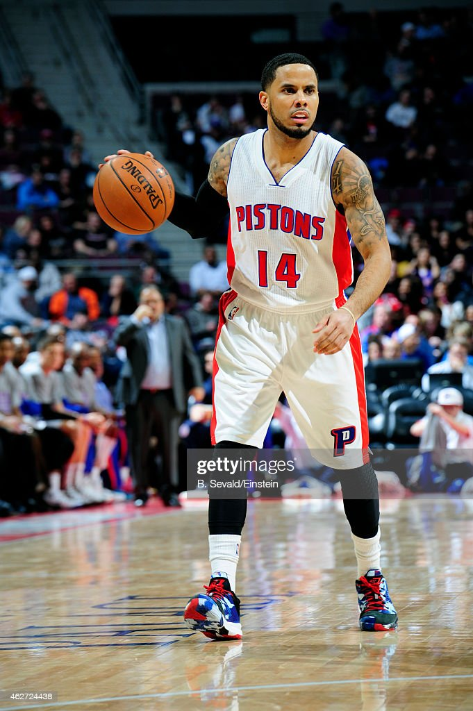 J Augustin of the Detroit Pistons handles the ball against the Miami Heat on February 3 2015 at The Palace of Auburn Hills in Auburn Hills Michigan...