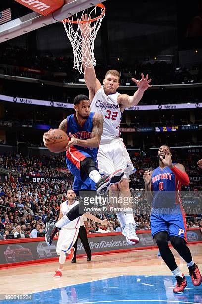 J Augustin of the Detroit Pistons looks to pass against the Los Angeles Clippers on December 15 2014 at STAPLES Center in Los Angeles California NOTE...